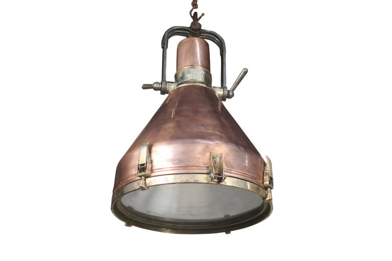 Large Copper and Brass Nautical Ship's Pendant Lights, 1970s For Sale 1