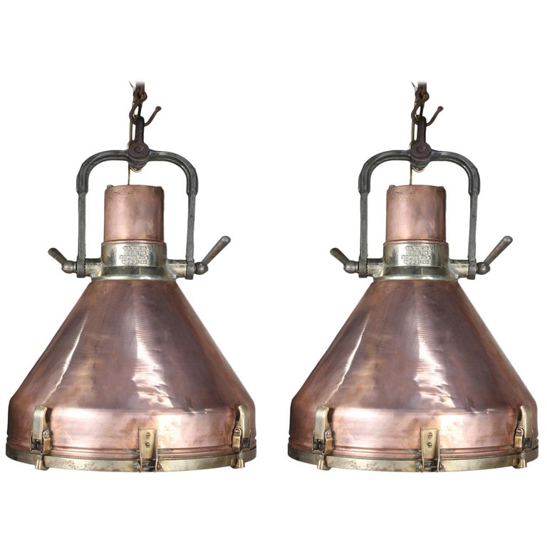 Large Copper and Brass Nautical Ship's Pendant Lights, 1970s For Sale