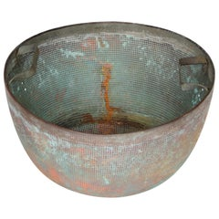 Large Copper Bowl Sieve with Handles and Beautiful Oxidation