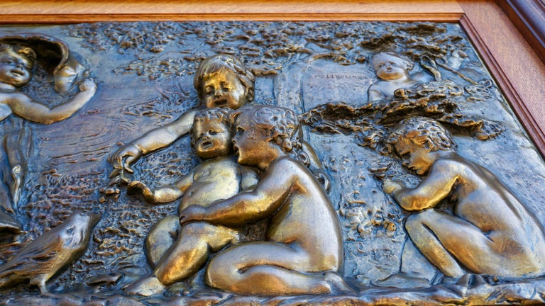 Large Copper Panel with Putti Dog and Bird For Sale 4