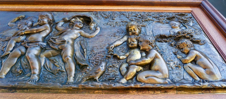 Large Copper Panel with Putti Dog and Bird For Sale 6