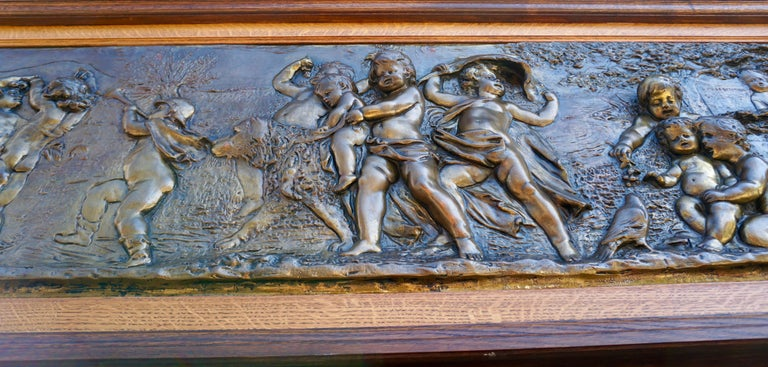 Large Copper Panel with Putti Dog and Bird For Sale 7