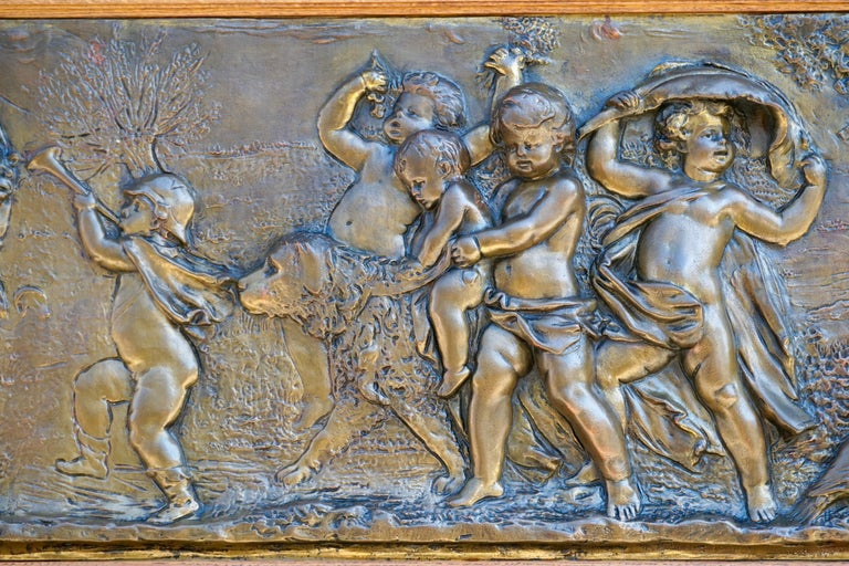Large Copper Panel with Putti Dog and Bird For Sale 8