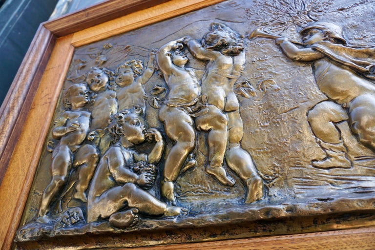 French Large Copper Panel with Putti Dog and Bird For Sale