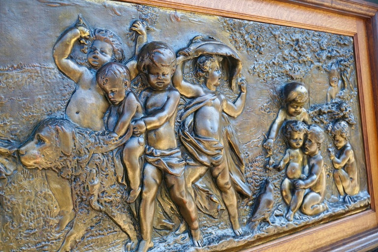Large Copper Panel with Putti Dog and Bird In Good Condition For Sale In Antwerp, BE