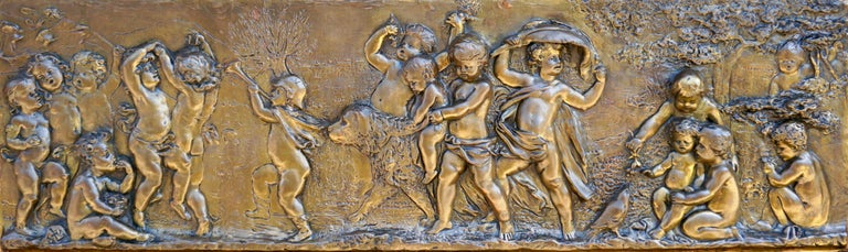 20th Century Large Copper Panel with Putti Dog and Bird For Sale