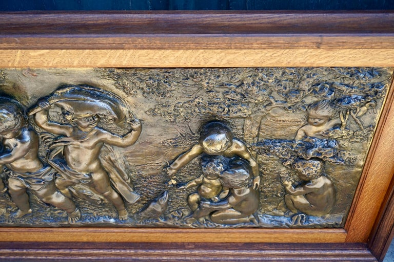 Large Copper Panel with Putti Dog and Bird For Sale 2