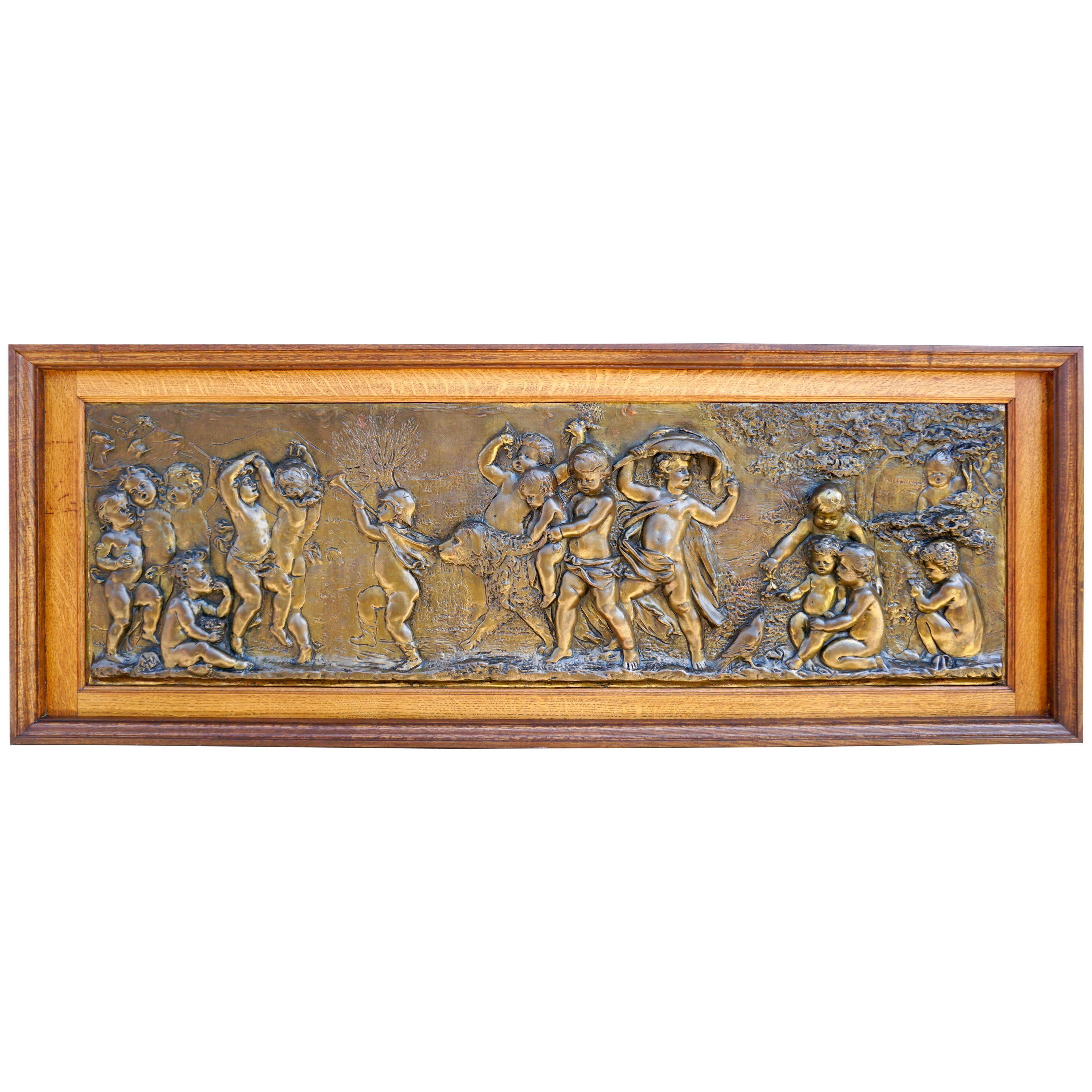 Large Copper Panel with Putti Dog and Bird