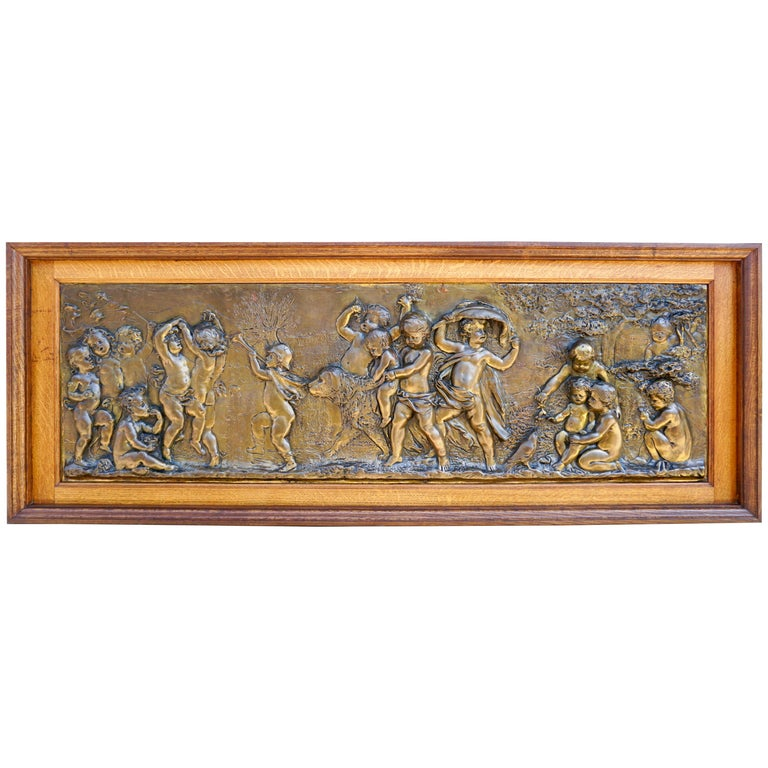 Large Copper Panel with Putti Dog and Bird For Sale