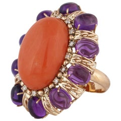 Large Coral and Amethyst Ring