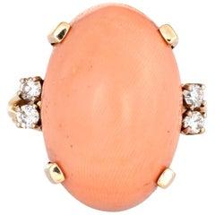 Large Coral Diamond Ring Vintage 14 Karat Yellow Gold Cocktail Jewelry Estate
