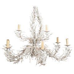 Large Coral Form Crafted Iron Chandelier in White