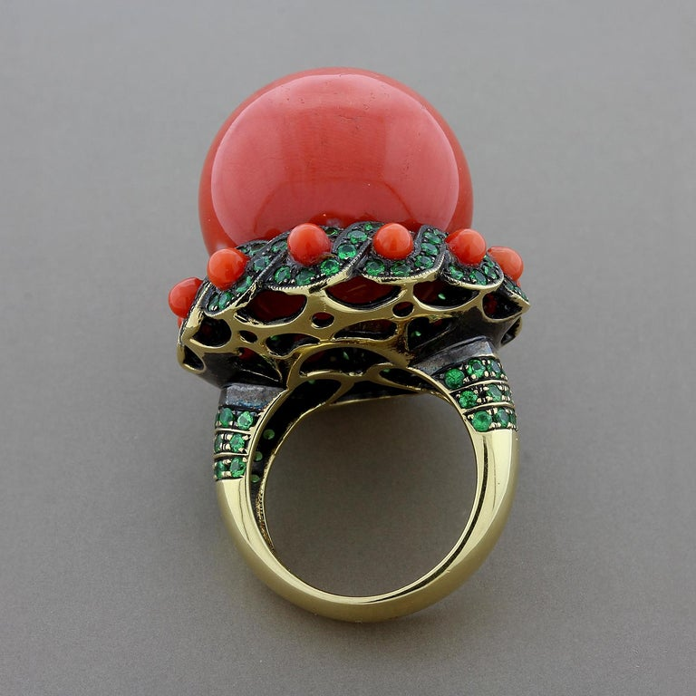 Women's Large Coral Tsavorite Gold Cocktail Ring For Sale