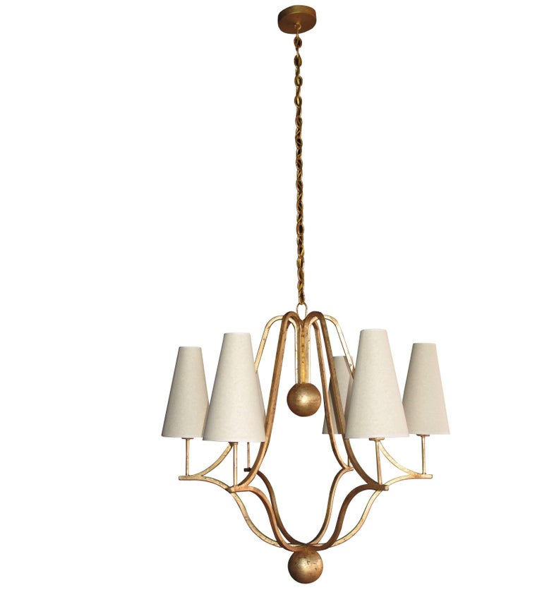 Modern Large 'Corbeille' Gold Leaf Chandelier in the Style of Jean Royere For Sale
