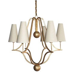 Large 'Corbeille' Gold Leaf Chandelier in the Style of Jean Royere