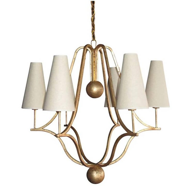 Large 'Corbeille' Gold Leaf Chandelier in the Style of Jean Royere For Sale