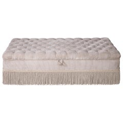 Large Corduroy Tufted Fringed Ottoman with Storage