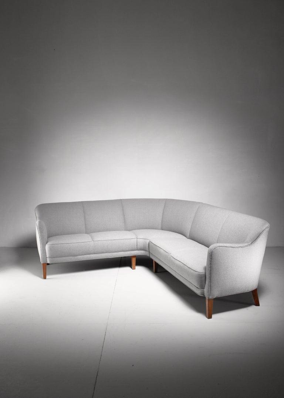Large Corner Sofa, Denmark, 1940s