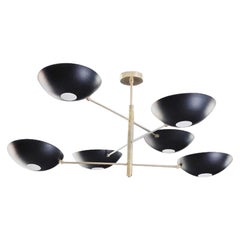 Large Counterbalance Ceiling Fixture, Black Enamel and Brass, Blueprint Lighting