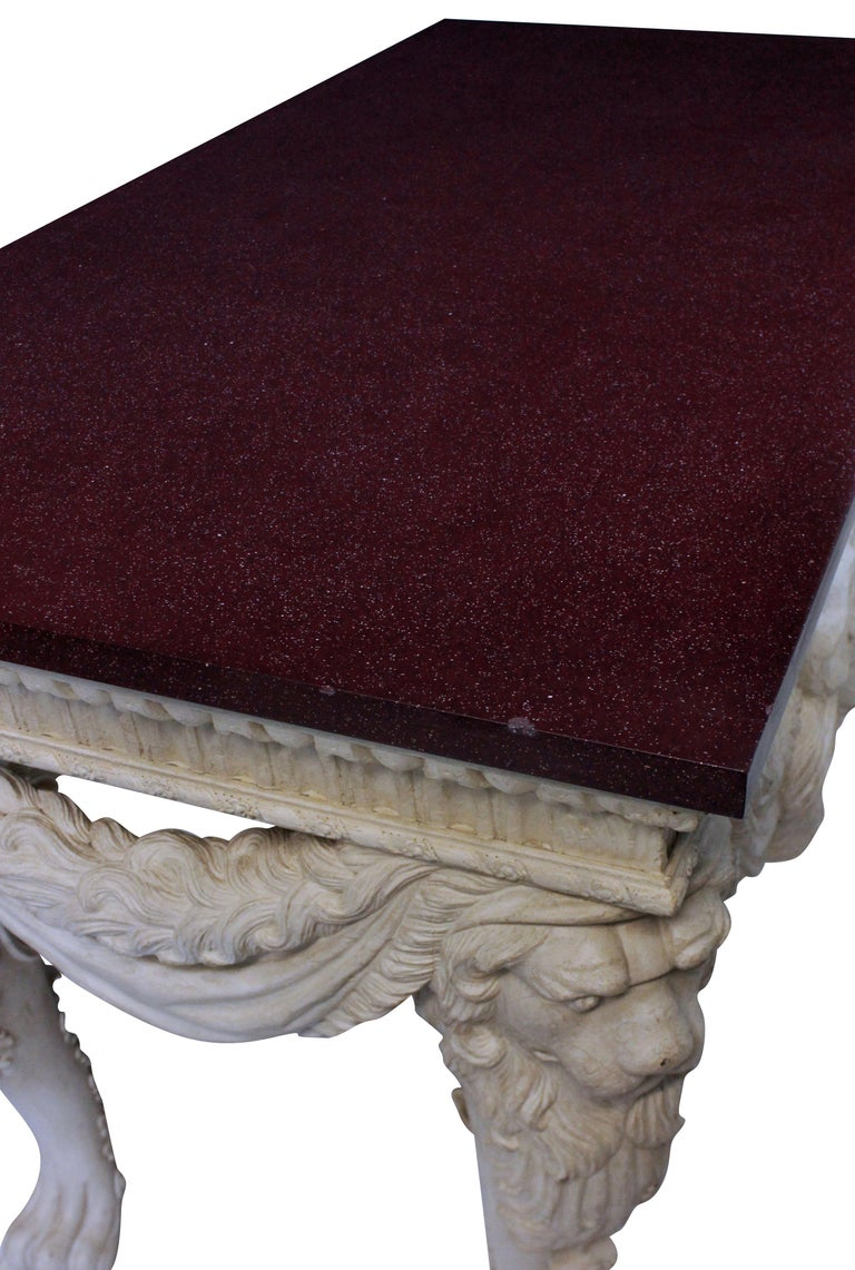 Country Large County House Console Table with a Solid Porphyry Top For Sale