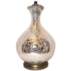 Large Crackled Mercury Glass Lamp