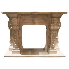 Large Cream Marble Mantel, French Style with Hand Carving with Floral/Foliate