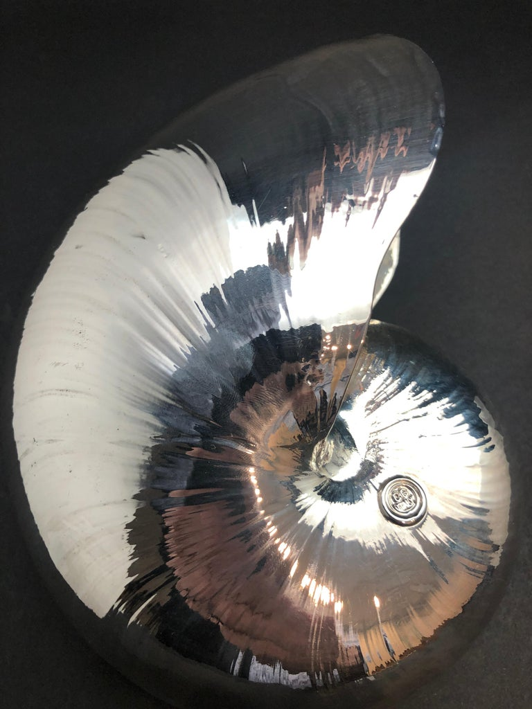 Contemporary Large Creel and Gow Silvered Nautilus Sea Shell For Sale
