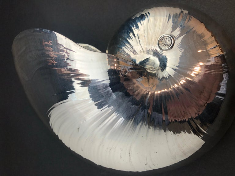 Large Creel and Gow Silvered Nautilus Sea Shell For Sale 1