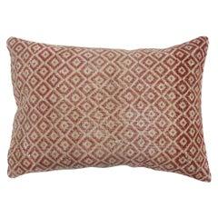 Large Crimson Red Midcentury Turkish Rug Pillow