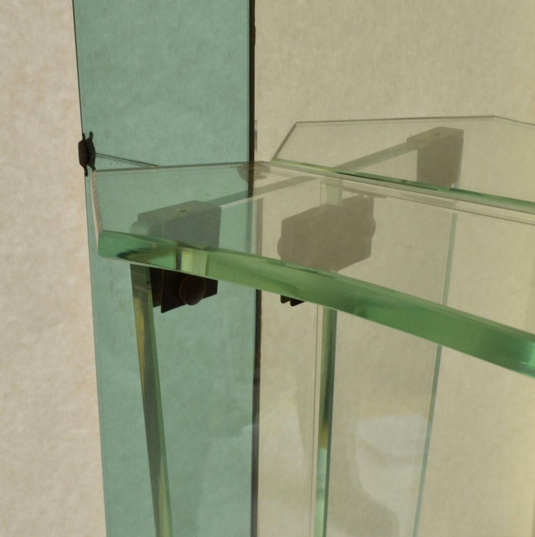 Large Cristal Arte Console Wall Mirror with Emerald Green Border, Italy, 1950s For Sale 5