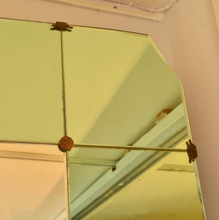 Large Cristal Arte Console Wall Mirror with Emerald Green Border, Italy, 1950s For Sale 8