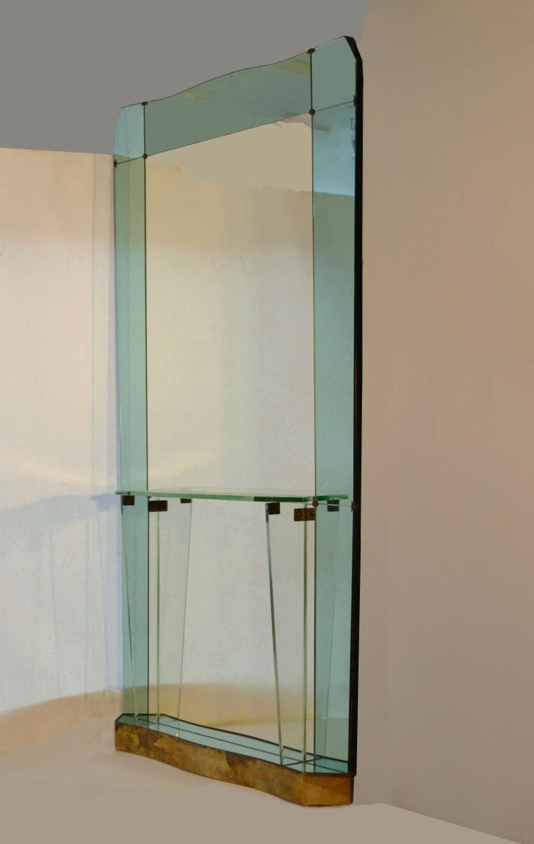 Mid-Century Modern Large Cristal Arte Console Wall Mirror with Emerald Green Border, Italy, 1950s For Sale