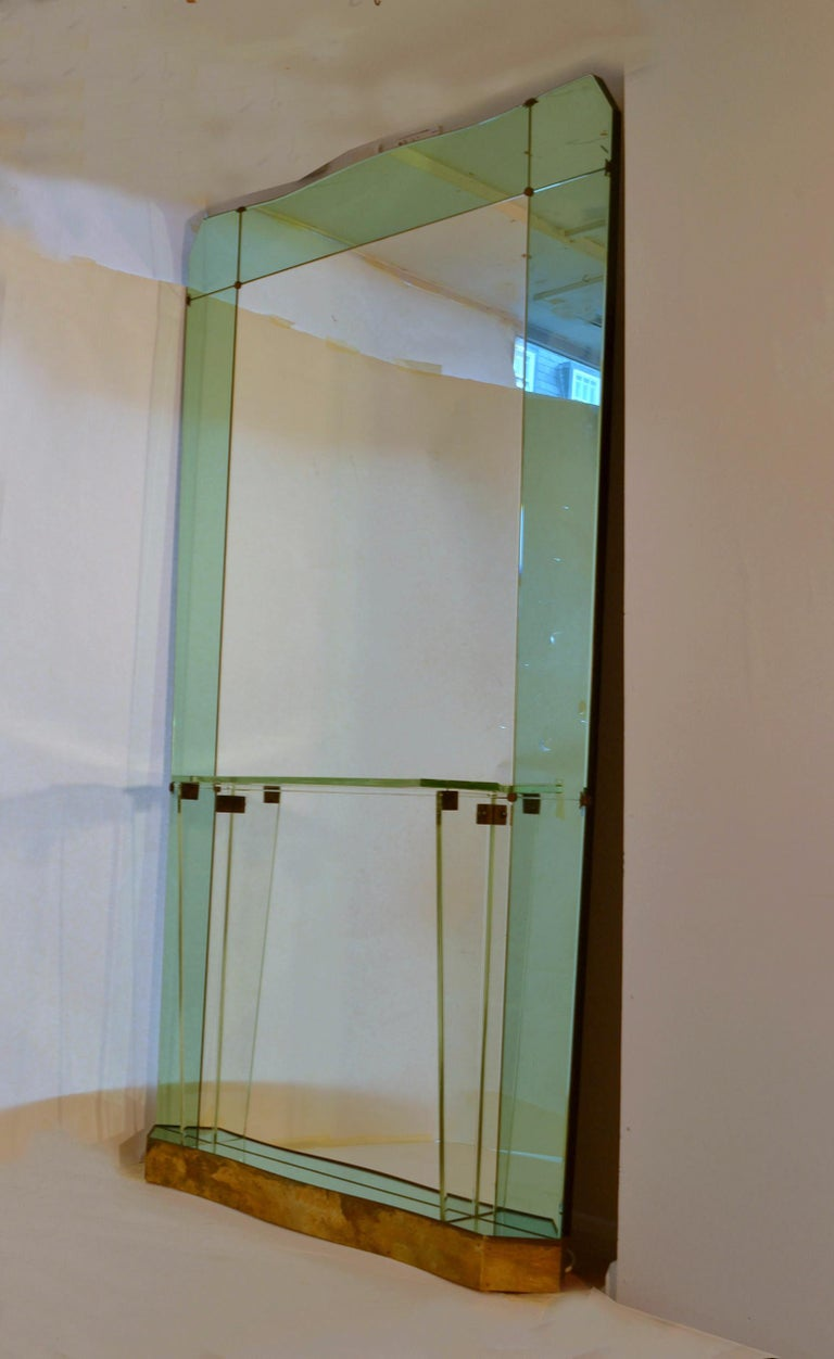 Italian Large Cristal Arte Console Wall Mirror with Emerald Green Border, Italy, 1950s For Sale