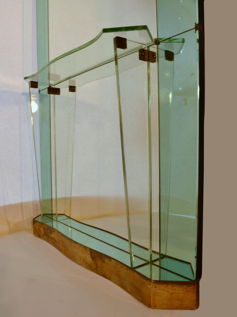 Brass Large Cristal Arte Console Wall Mirror with Emerald Green Border, Italy, 1950s For Sale