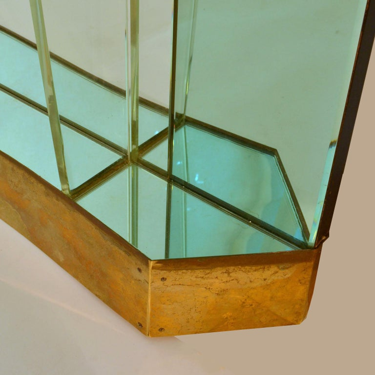 Large Cristal Arte Console Wall Mirror with Emerald Green Border, Italy, 1950s For Sale 1
