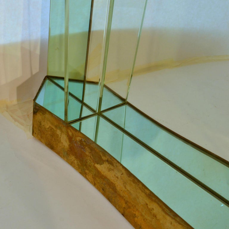 Large Cristal Arte Console Wall Mirror with Emerald Green Border, Italy, 1950s For Sale 2
