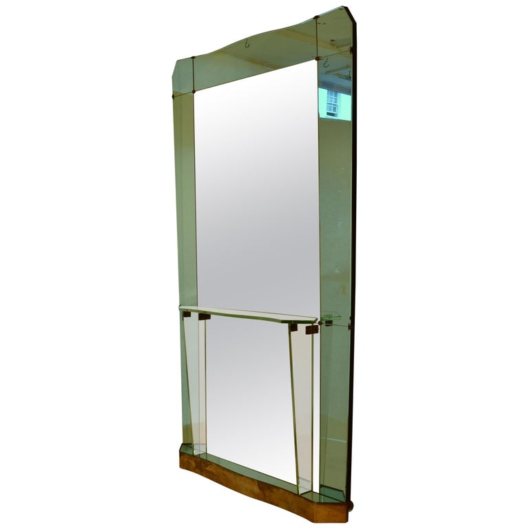 Large Cristal Arte Console Wall Mirror with Emerald Green Border, Italy, 1950s For Sale