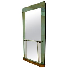 Large Cristal Arte Console Wall Mirror with Emerald Green Border, Italy, 1950s