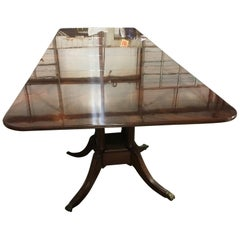 Large Crotch Mahogany Georgian Style Dining Table by Leighton Hall
