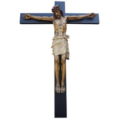 Large Crucifix with an Antique and Rare Size Hand Carved Wooden Corpus of Christ