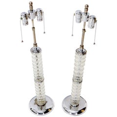 Large Crystal and Chrome Mid-Century Modern Table Lamps