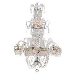 Large Crystal Arm Chandelier with 6 Downturned Lights, Continental circa 1900
