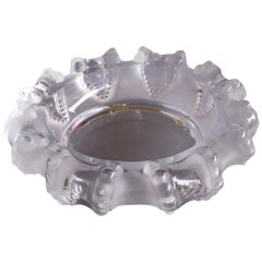 """Large Crystal Cigar Ashtray / Bowl """"Cannes"""" Octopus Pattern by Lalique"""