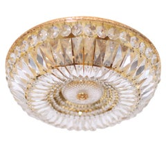 Large Crystal Glass and Brass Flush Mounts by Palwa