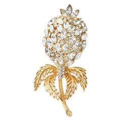Large Crystal Gold Gilt Metal Flower Brooch