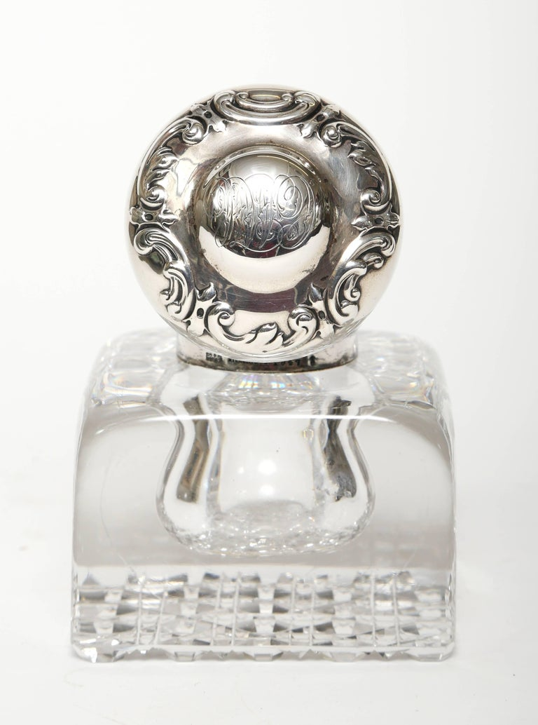 Victorian Sterling Silver Topped Large Crystal Inkwell  by Gorham Silver Company For Sale