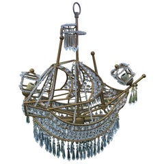 Large Crystal Ship Chandelier