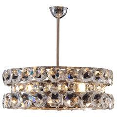 Large Crystalglass and Brass Chandelier Vienna Mid-Century Modern, Re-Edition