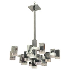 """Large """"Cubic"""" Chandelier by Sciolari, Italy"""