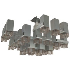 Large Cubic Chandelier M131 by Sciolari, Italy, 1970s